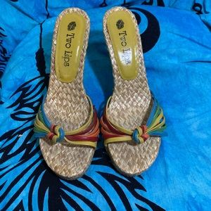 Two Lips Multi-colored Heeled Sandals Size 10